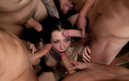 Aria Aspen - Tattooed Hottie is Made to Submit to Five Guys (SD)