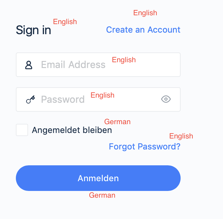 Sign in Form which should be displayed in German language